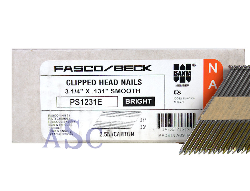 Fasco/Beck PS1231E Clipped Head Nails PS1231E