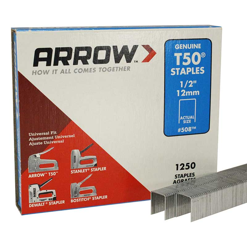 "Arrow T50 1/2"" Staple T501/2-1.25PK"